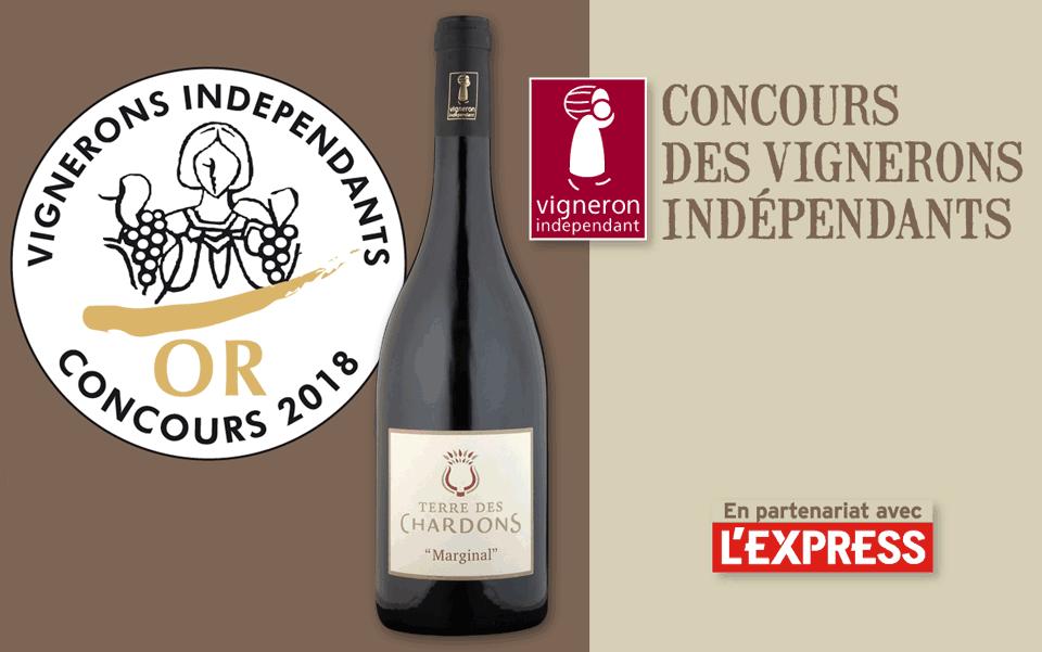 Médaille d'Or Vignerons Indépentants AOP Costières de Nîmes - Terre des Chardons - Cuvée Marginal 2015