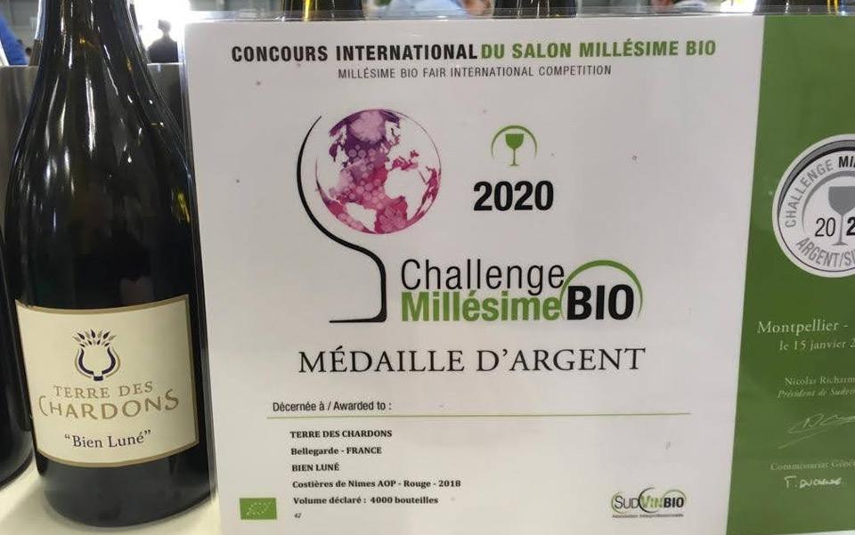 Terre des Chardons Médaille argent Bien Luné Millesime Bio 2020